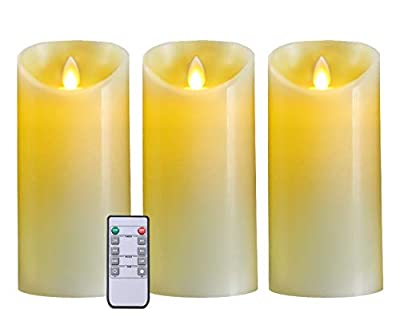 5PLOTS Wax Flameless Candles - Amber Yellow Flickering LED Candles - Battery Operated Candles with Remote Timers - Moving Wick Dancing Flame - Set of 3