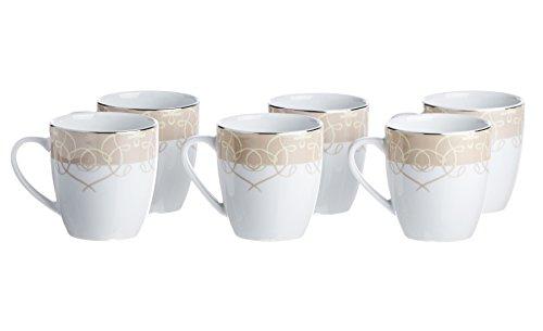 SONATA 6-Piece TEA/COFFEE Mugs, White Porcelain, Silver Decorated, 9 -