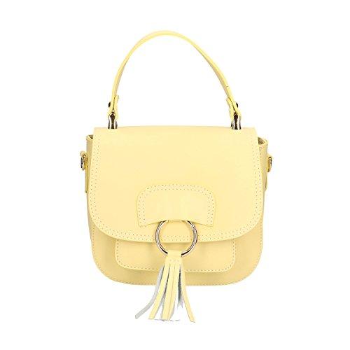Chicca Borse Bag Genuine Leather 20x17x7 Cm Yellow