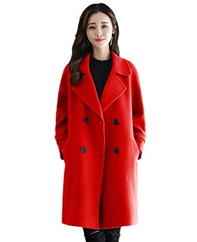 Giacca Outerwear Breasted Bavero Double Elegante Donna Manica Stile Lunga Donne Modern Invernali Trench Rot Laterali Vento Tasche Classiche Giaccone faaYd