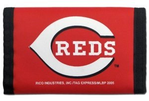 MLB Cincinnati Reds Nylon Trifold Wallet, Red