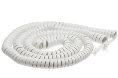 White Coiled Telephone Handset Cord - 25 Foot Long Length - 1.5 Inch Flat Leader - Heavy Duty - Universal - GUARANTEED for life - Coiled Telephone Handset Cord 25 FT