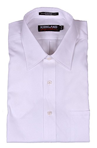 Kirkland Signature Men's Solid White Non-iron Long Staple Cotton Dress...