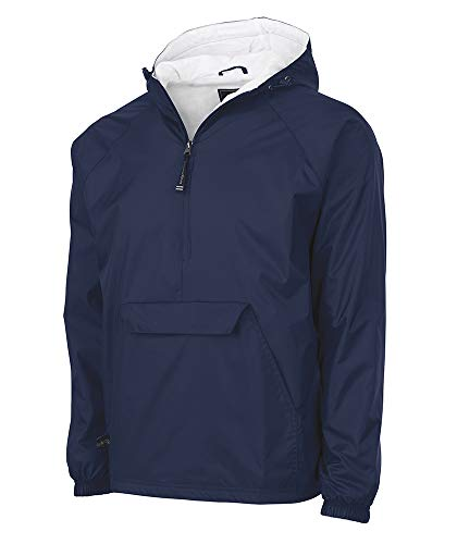 Jacket Pullover Coat - Charles River Apparel Wind & Water-Resistant Pullover Rain Jacket (Reg/Ext Sizes), Navy, M