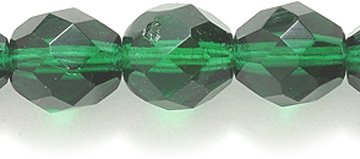 Preciosa Czech Fire 8mm Polished Glass Bead, Faceted Round, Transparent Dark Christmas Green, - Glass Czech 100 Faceted Beads