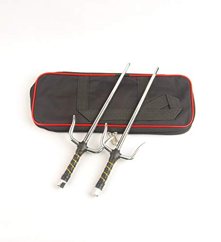 Superdo Octagon Metal Martial Arts Sai Silver 15Inch Length Ninja Sai&Sai Case (Silver, 15