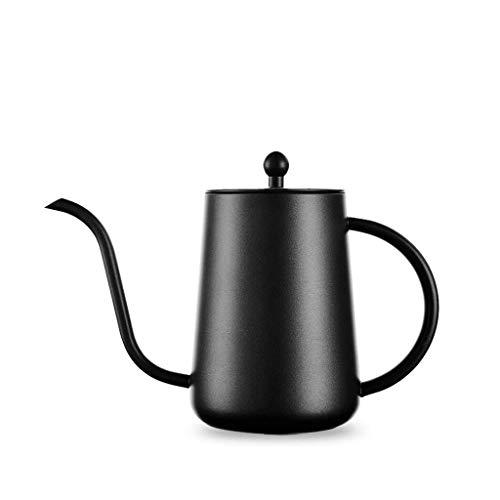 JXLBB Mano de Acero Inoxidable Negro Olla de café Teflon Boca Larga Boca Delgada Olla de café Olla de café Principiante...