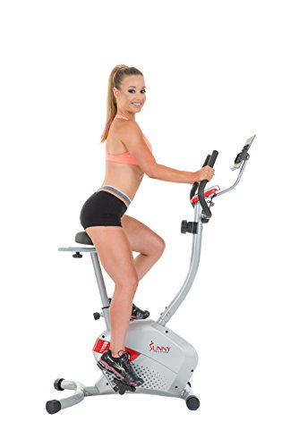 Sunny Health & Fitness Magnetic Upright Bike with Tablet Holder, Grey