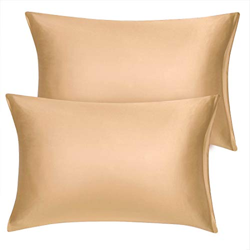 uxcell Queen Satin Pillowcase with Zipper, Super Soft and Luxury, Silky Pillow Cases Covers Set of 2, 21