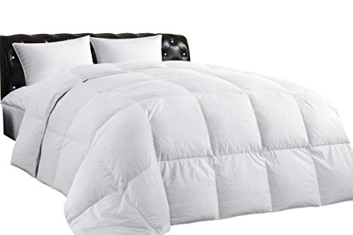 (Lightweight Down Comforter, All-Season Medium Warmth, 100% Cotton Cover, Hypoallergenic, Quilted Duvet with Corner Tabs, Soft Comfortable Quilt, White Duck Feather Down, Machine Washable, King Size)