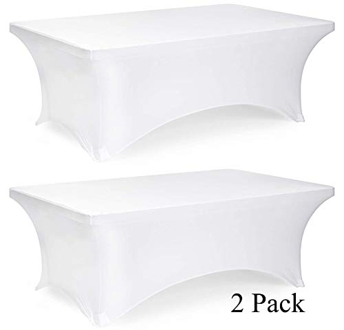 6ft Rectangle Stretch Tablecloth - Tight Fitted Spandex Rectangular Table Cover for 6 Feet Folding Table (White, 2 Pack) ()