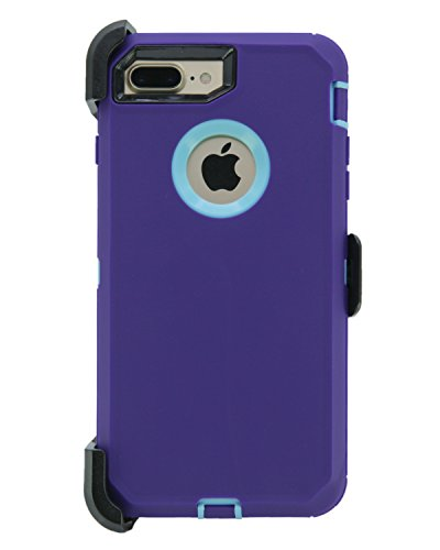 WallSkiN Turtle Series Cases for iPhone 7 Plus/iPhone 8 Plus (Only) Full Body Protection with Kickstand & Holster - Ambition (Purple/Beau Blue)