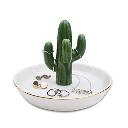 mono living Cactus Ring Holder Tower Earring Trinket Tray Dish Ceramic Jewelry Organizer Tropical Necklace Bracelet Birthday Gift for Her Mother Him Girlfriend Teen Daughter Girl Women Lady