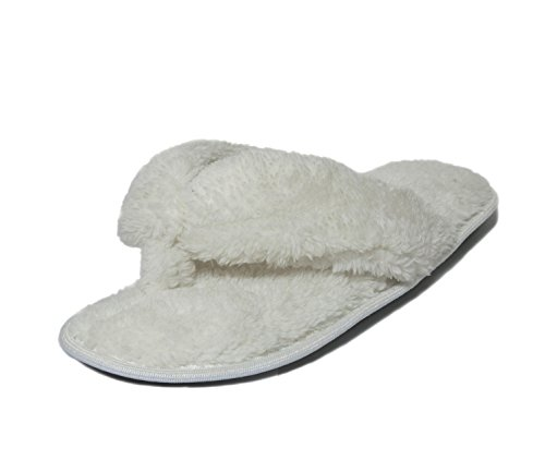 Color for Indoor Slippers Flip Onmygogo Women Wide White with Double Flop Slippers Fleece Plush Straps XHwX5qvx8