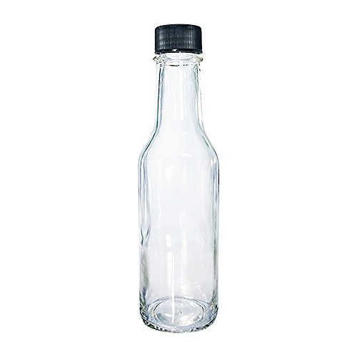 (24 Pack) 5 oz. Clear Glass Hot Sauce Bottle with Black Cap + Shrink band and Orifice Reducer (24/400) by GBO GLASSBOTTLEOUTLET.COM (Image #1)
