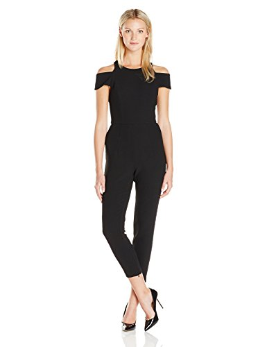 ABS Allen Schwartz Women's Jumpsuit with Cut Out Shoulders in Crepe Woven, Black, 4