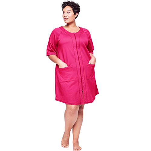 Dreams & Co. Women's Plus Size Short Sleeve French Terry Robe - Radiant Pink, 1X