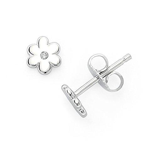 (Little Diva Diamonds 925 Sterling Silver .02 Cttw. Diamond Accent Flower Stud Earrings for Girls)