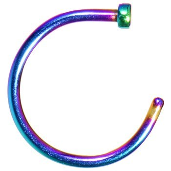 18g Multi Color Rainbow Titanium Anodized Over Surgical Steel Nose