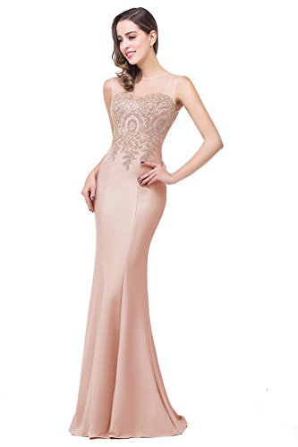 Babyonlinedress Women`s Sleeveless Mermaid Evening Dresses Beaded Lace,Nude Pink,14 (Beaded Evening Wear)
