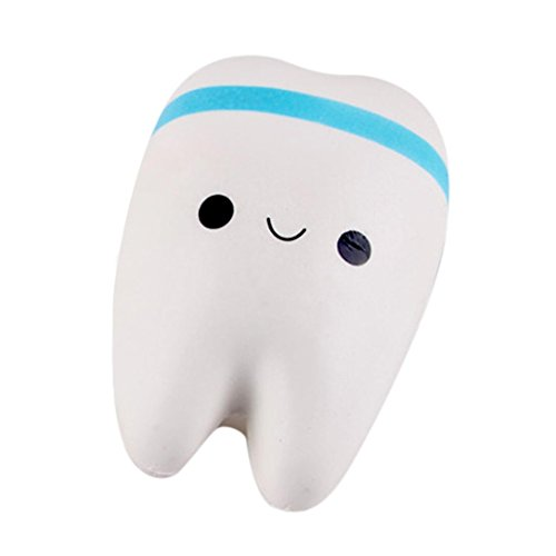 Vanvler New Cute Creative Smiley Tooth Novelty Soft Slow Rising Squeeze Rare Kids Toy