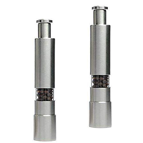 Bringsine Salt and Pepper Grinder Set. Premium Stainless Steel Salt and Pepper Mills Shakers Works Great With Peppercorns, Sea Salt, Himalayan Salt, Spices & Table Seasoning Set of 2
