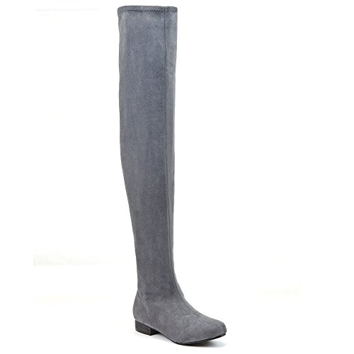 Essex Glam Womens Thigh High Stretch Faux Suede Over The Knee Boots (9 B(M) US, Grey Faux Suede)