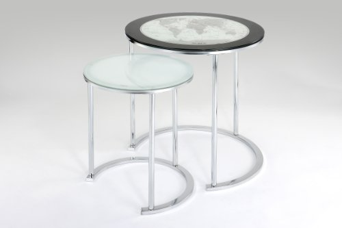 World Map Printing Set of Two Accent Tables