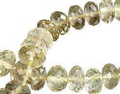 Lemon Quartz Faceted Rondelle Semi precious Gemstone Bead Strand