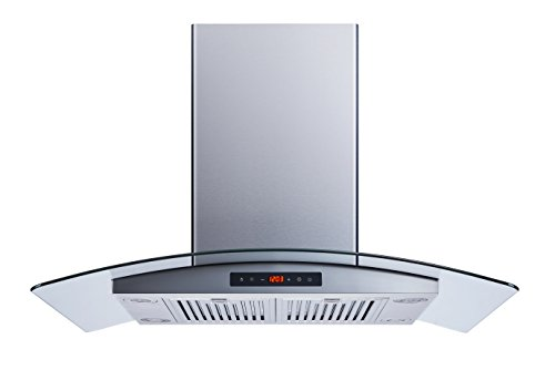 Winflo 36″ 520 CFM Island Stainless Steel/Glass Convertible Range Hood with Touch Control and Baffle Filters