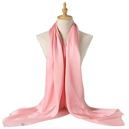 Bellonesc Silk Scarf 100% silk Long Lightweight Sunscreen Shawls for Women (light pink)