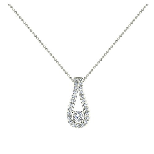 14k White Gold Drop Pendant - 0.46 ct Teardrop Halo Diamond Necklace Pendant 14K White Gold (P0202)