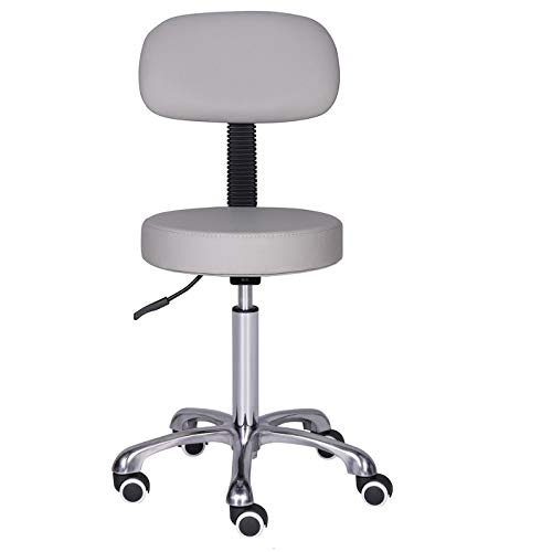 Kaleurrier Rolling Swivel Adjustable Heavy Duty Drafting Stool Chair for Salon,Medical,Office and Home uses,with Wheels and Back(Grey)