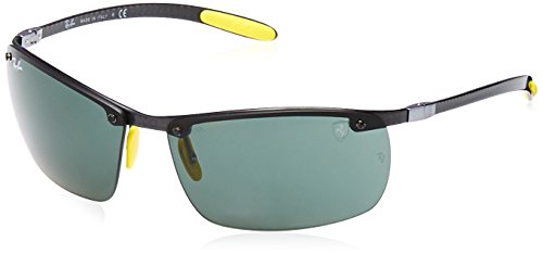 Carbon Ray Fiber - Ray-Ban Men's RB8305M Scuderia Ferrari Collection Rectangular Sunglasses, Shiny Dark Carbon/Green, 64 mm