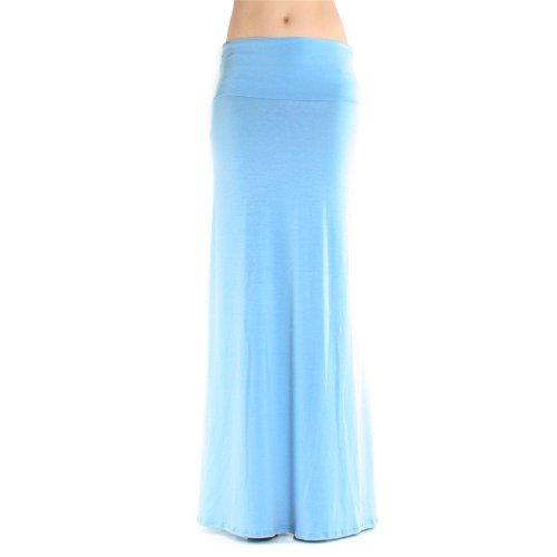 Skirt Spandex Reversible (Azules Women's Rayon Span Maxi Skirt Baby Blue large)