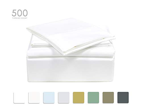 TRANQUIL NIGHTS Queen Size White 100% Cotton Sheet Set, 500 Thread Count, 4-Piece Set, Long Staple Combed Cotton, Sateen Weave, Classic Z Hem, Ultra Soft&Shine, Fits Mattress Upto 17