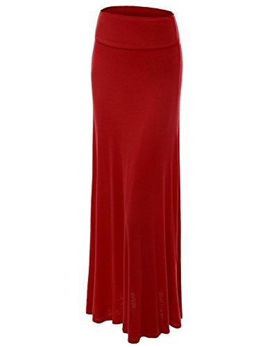 Lock and Love WB670 Womens Fold-Over Maxi Skirt M Merlot