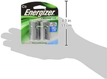 Energizer NH35BP-2 Precharged Recharg Battery, C, NiMh, PK2 Lighting, 2 Count (Pack of one), Green and Silver