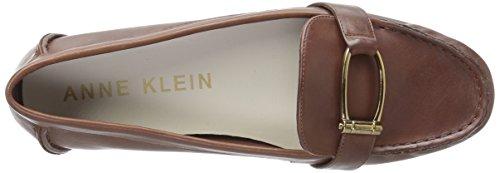 Anne Klein Women's Petra Leather Loafer Flat Dark Cognac UZb7oJm