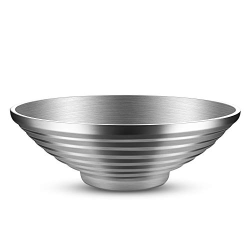 - Salad Bowl, Double Wall 10 Inch 47 OZ Stainless Steel Multipurpose Serving Bowl for Soup, Cooked Food, Fruit, Noodle, Cereal (Salad Bowl)