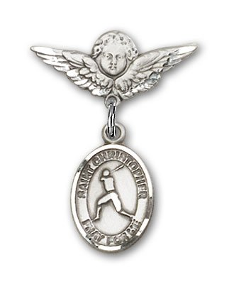 Baseball Angel Pin - Sterling Silver Baby Badge with St. Christopher/Baseball Charm and Angel with Wings Badge Pin
