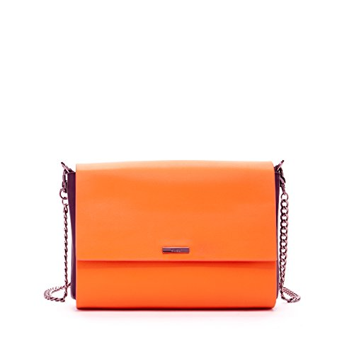 SUSU Leather Crossbody Bags For Women Orange Cross body Purse With Black Gussets Side Purses Cute Designer Handbags With Two Zipper Closure or Compartments Best Stylish Flap Bag With Shoulder Chain