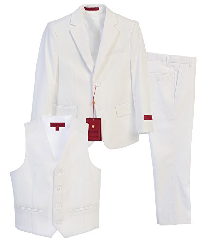 (Gioberti Boy's Formal 3 Piece Suit Set, White, Size 2T)