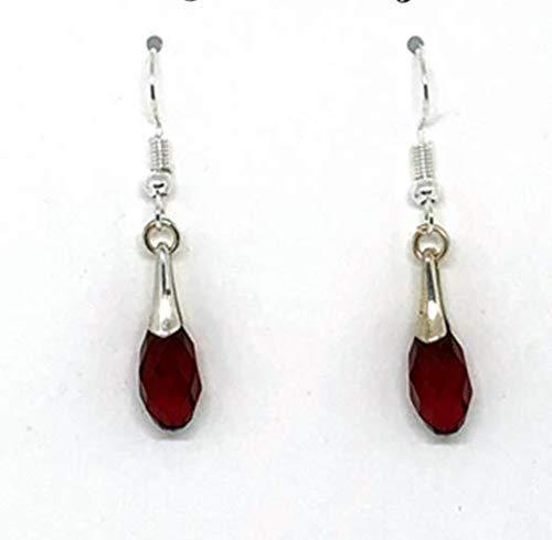Earrings Ruby Briolette - July Birthstone Earrings, Swarovski Earrings, Red Ruby Briolette Earrings
