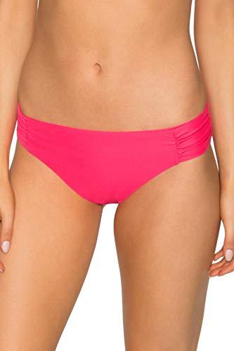 - Sunsets Women's Femme Fatal Shirred Side Bikini Bottom Swimsuit, Hot Pink, Large