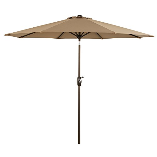 Ulax furniture 9 Ft Outdoor Umbrella Patio Market Umbrella Aluminum with Push Button Tilt&Crank, Sunbrella Fabric, Heather Beige (Sale Aluminum Patio Furniture)