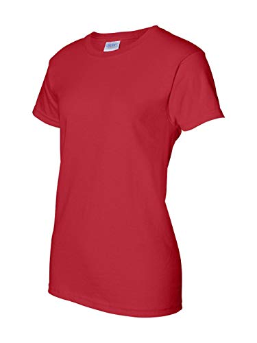 (Gildan Ladies Ultra Cotton 100% Cotton T-Shirt, Red, 3XL)