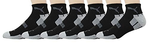 PUMA Men's P112485 Quarter 6-Pack Socks, Black/Silver Sock 10-13 Shoe Size 6-12