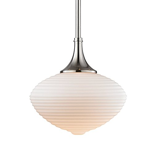 Hudson Valley Lighting Knox Pendant - Satin Nickel Finish with Matte Opal Mouth-Blown Glass - Blown Collection Glass Mouth