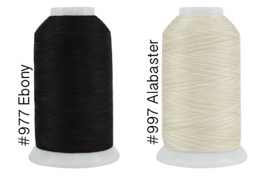 2 Ply Quilting Thread - Super Threads King Tut #40/3 Ply Quilting Thread 2,000 per cone BUNDLE of 2 - Ebony & Alabaster (#977 + #997)